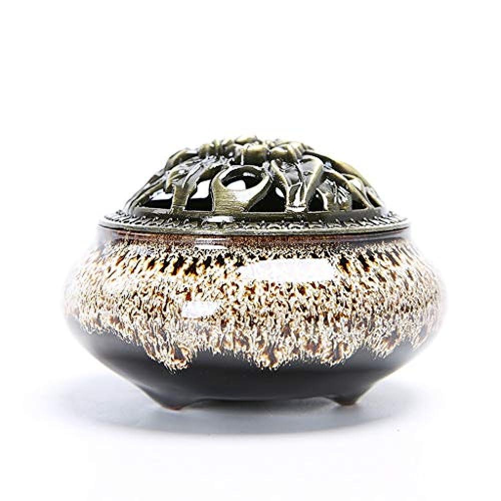 ビーズ提供する目的クリエイティブセラミック香炉ホームルーム香スティック/コーン/コイルバーナーホルダー灰キャッチャーホーム仏教の装飾香ホルダー (Color : White, サイズ : 3.93*2.83inchs)