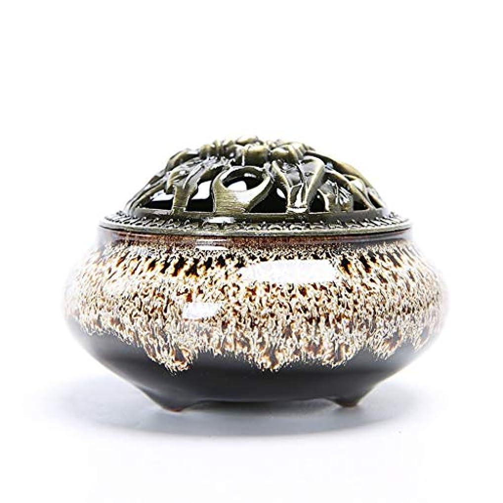 かすれたオーバーコートエキスクリエイティブセラミック香炉ホームルーム香スティック/コーン/コイルバーナーホルダー灰キャッチャーホーム仏教の装飾香ホルダー (Color : White, サイズ : 3.93*2.83inchs)