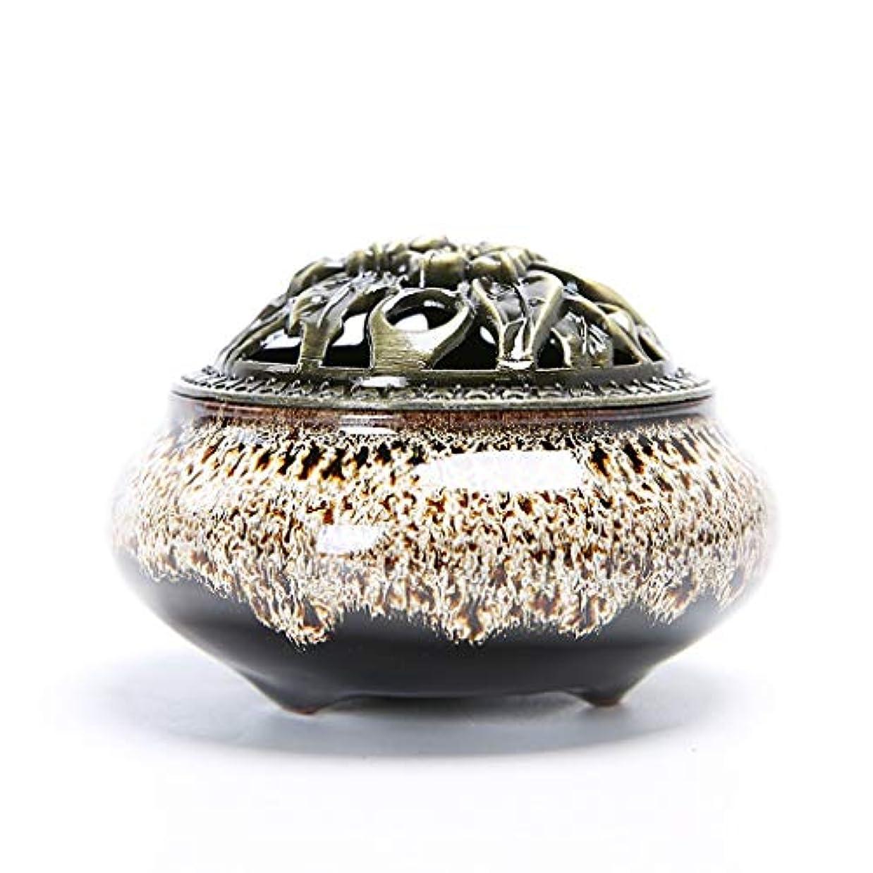 証明とらえどころのない外側クリエイティブセラミック香炉ホームルーム香スティック/コーン/コイルバーナーホルダー灰キャッチャーホーム仏教の装飾香ホルダー (Color : White, サイズ : 3.93*2.83inchs)