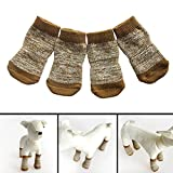 Amazon.co.jpDemiawaking 犬用靴下 カーキ色 ソックス 2ペア入 滑り止め 防寒 (M)