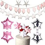 スター パーティー 飾り付け 誕生日 結婚式 星 可愛い ピンク ケーキトッパー バルーン 風船 シルバー ガーランド バナー 9枚セット