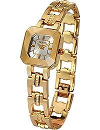 Time100 レディース腕時計 多面体ガラス スケルトン ダイヤモンド付きバンド 30M防水 ブレスレット式W80023L.03A (ゴールド)