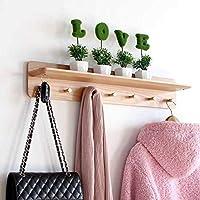 コートラック木製ハンガーリビングルームのベッドルームポーチコートフックハンギングボード(色:B、サイズ:70 * 12.5 * 10 cm)