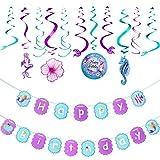 マーメイドテーマパーティーデコレーションセット 誕生日パーティーバナー ハンギングスワール マーメイドパターン 海 誕生日パーティー用品