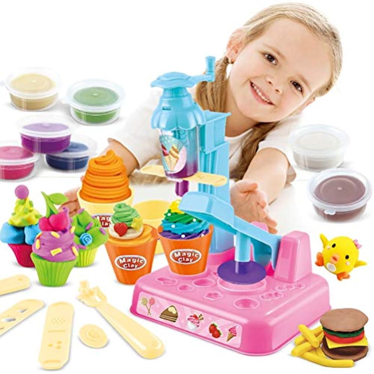 簡略化する体系的に誇張するYRE 子供用プラスター型セット アイスクリームセット アイスクリームヌードル マシーン 粘土 おもちゃ DIY 色付き 泥 男の子 女の子 おもちゃ