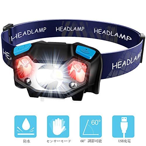 TinMiu LEDヘッドライト120ルーメン ANSI規格準拠 IPX4防水 USB充電式 ヘッドライト 五つモード切替 アウトドア スポーツ 登山用 防災