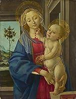 Sandro Botticelli ジクレープリント キャンバス 印刷 複製画 絵画 ポスター(ザクロを持つ聖母子)ビッグサイズ 76.2 x 99.1cm