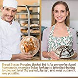 (9 Inch) Banneton Proofing Basket + Free Bowl Scraper & Cloth Liner - Perfect Bread Loaf Shape Flour Round Rising Rattan Wicker Wood Handmade Large Oval Prooving Brotform Set Dough Box by Bread Bosses 画像
