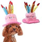 ペットの誕生日帽子、かわいい犬の誕生日帽子 ケーキとキャンドルのデザイン 猫と子犬のパーティーの衣装のアクセサリー (ピンク)