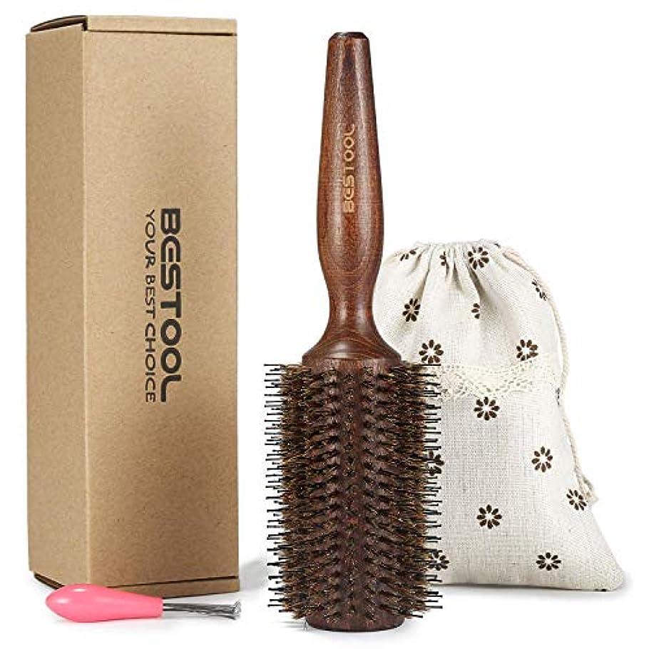 豚毛ヘアブラシ ロールブラシ Bestool ケヤキ製 髪をつやつやする ファッションヘアブラシ 新型タイプ 高級美容ヘアブラシ (L, ケヤキ)