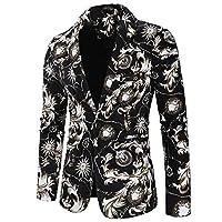 メンズカジュアルブレザーペイズリージャカードスーツジャケットスリムフィットフローラルプリントスタイリッシュブレザーコートシックなジャケット (Size : XL)