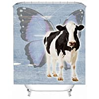バスルーム- 3D牛のプレミアム防水性病気に抵抗性の抗菌性ポリエステルのバスルームシャワーカーテン、フックが含まれています ( サイズ さいず : 2*2m )