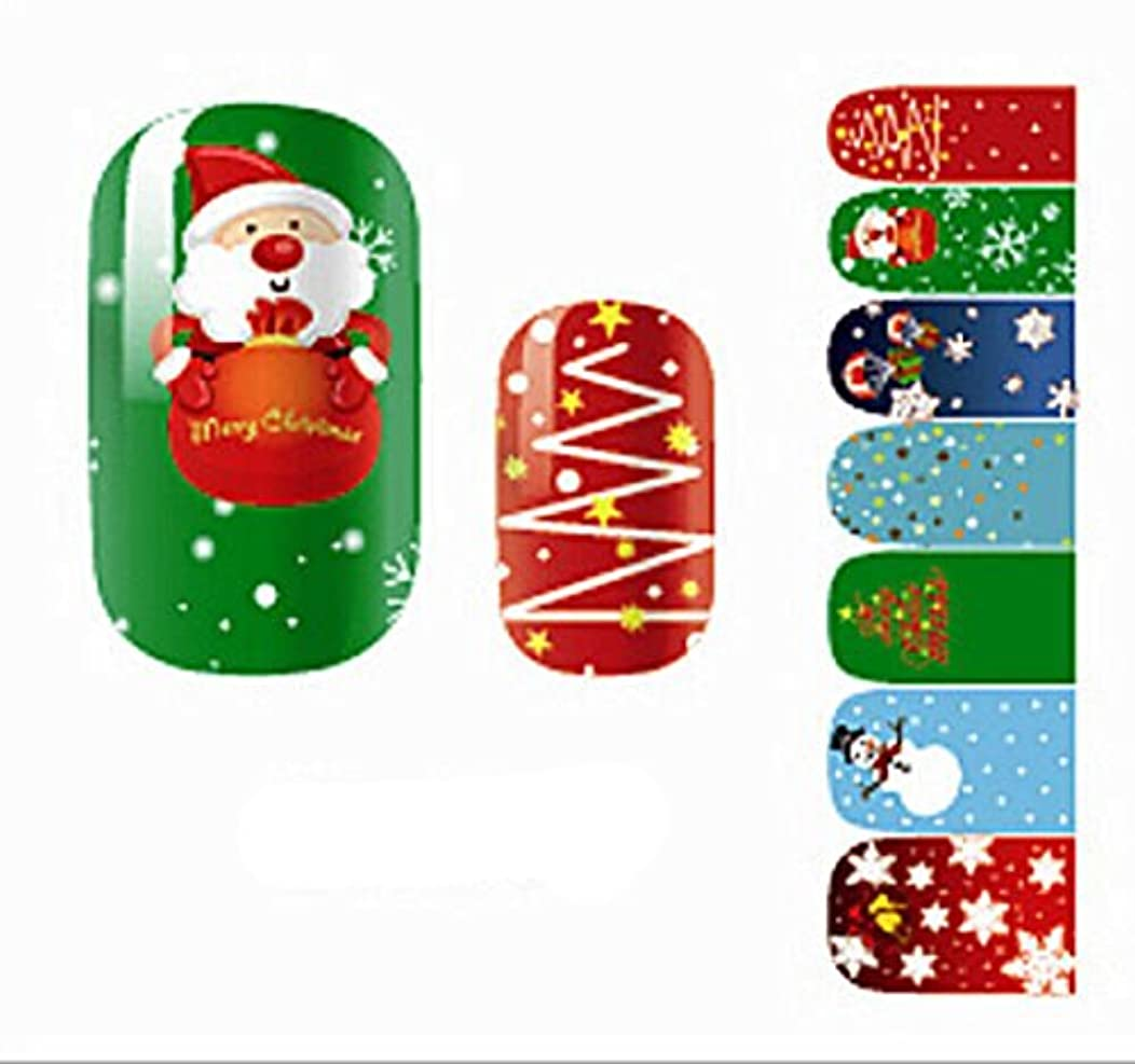 大型トラック週末特徴Happyハッピー耳 14枚7ペア/セット 可愛いネイルシール クリスマス サンタクロース 雪 海軍風 ウサギ 混合柄 薄い レディース 子供に適用 (クリスマス風)