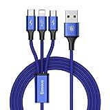 ライトニングケーブル Baseus USB Type-Cケーブル 3in1 充電ケーブル USB Type C/ライトニング / Micro USB ケーブル 3A急速充電 iOS/Android 同時給電可能 iPhone8 8plus 7 7 plus / 6 6s plus/iPad / Macbook 1本3役 多機種対応 1.2m ブルー
