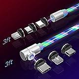 マグネット 充電ケーブル 3in1 USBケーブル L型タイプ 360度回転 流れるLEDライト ライトニング マイクロUSB Type-C コネクタ タイプc Micro USB Cable(1M+1M)