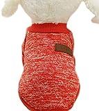 ふく福 可愛い ペット小中型犬猫用 Tシャツ セータードッグウェア 暖かい 防寒 コート春秋冬服 綿製 お散歩お出かけウェアに (S, 赤)