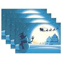 バララ (La Rose) ランチョンマット テーブルマット 子供用 給食 北欧 おしゃれ 洗える 防水 和風 クリスマス トナカイ 雪だるま 滑り止め 撥水 防汚 摩擦 耐える 食卓マット セット 大人 対応 家庭 レストラン用