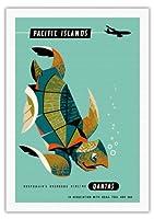 太平洋諸島 - カンタス航空 - アオウミガメ - ビンテージなハワイの旅行のポスター によって作成された ハリー・ロジャース c.1960s - 美しいポスターアート