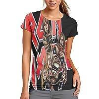 夏の若い女性は半袖Tシャツを印刷 アイアンメイデンIron Maidenアイアンメイデン ショッピング、スポーツ、ショッピング、集会、仕事、旅行