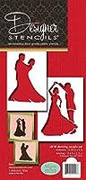 Designer Stencils C818 Dancing Couple Stencil, Beige/Semi-Transparent by Designer Stencils