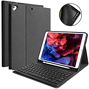 iPad 10.2 キーボード ケース 第7世代 [ペンシルホルダー付き] 2019モデル Bluetooth キーボードカバー 脱着式 多角度調整 傷つけ防止 耐久性 [ iPad 10.2/iPad Air3/Pro 10.5と一緒に使用可能] (ブラック)