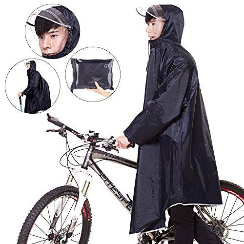 Homecube レインコート レインポンチョ 自転車 バイク レインコート ポンチョ 完全防水 男女兼用 通勤通学 フリーサイズ 高品質 一年中通用 (ネイビーブルー)
