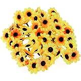 花ヘッド 造花 花部分のみ 結婚式 パーティー ホーム オフィス ガーデン パティオ 装飾(ブラックコアと黄色)500ピース