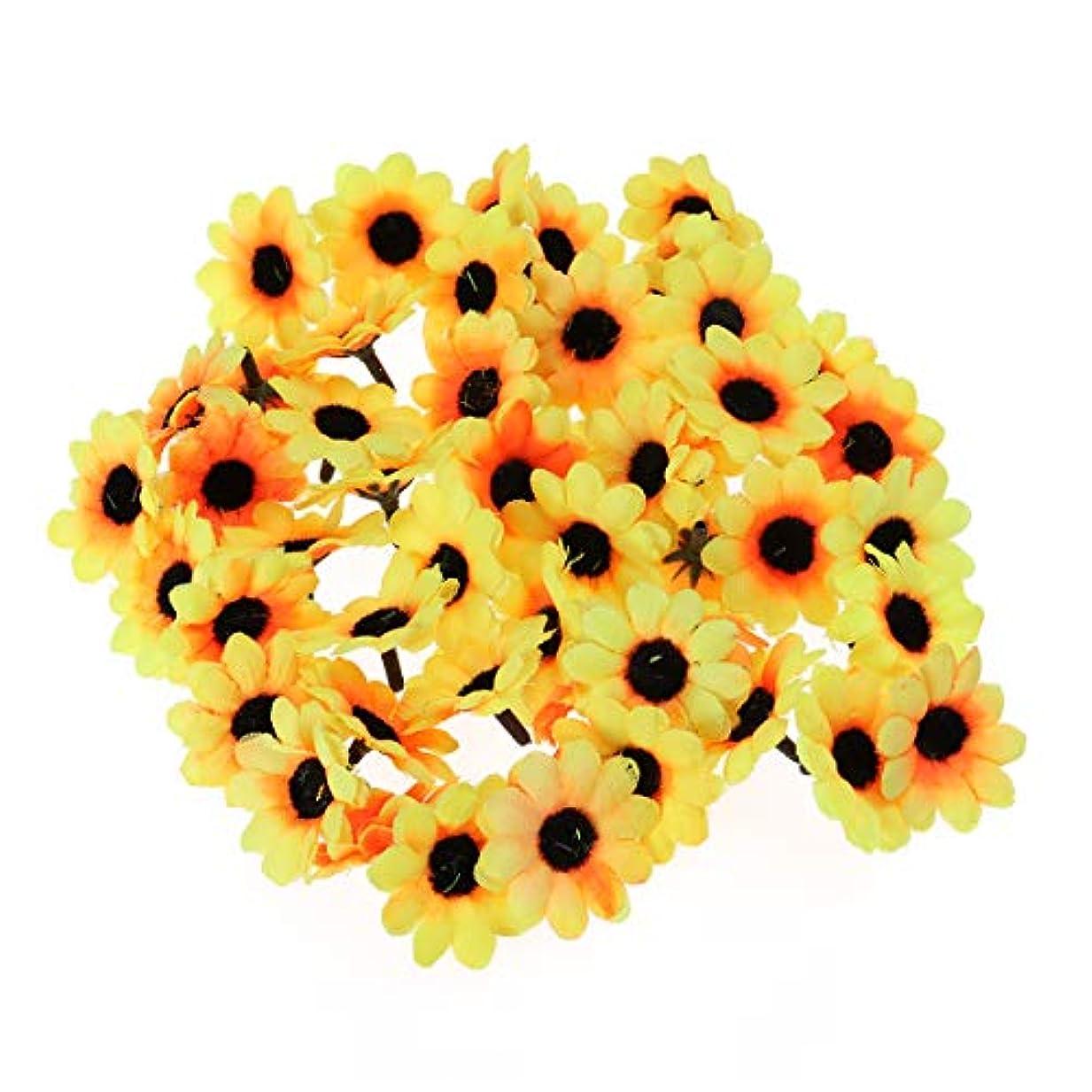 年次バイオリニストがっかりした花ヘッド 造花 花部分のみ 結婚式 パーティー ホーム オフィス ガーデン パティオ 装飾(ブラックコアと黄色)500ピース