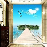 Wxmca カスタム3D写真の壁紙海の景色島の壁壁画絵画入り口背景壁リビングルーム壁紙風景のための壁-280X200Cm