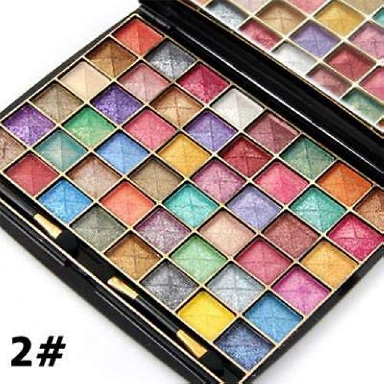 フラフープ憧れ飲み込むFidgetGear 3D 48色化粧品凸面パウダーパールウェットシマーアイシャドウパレット 2#