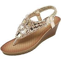 Zicac Women's Rhinestone Bead String Thong Sandals Wedges Sandals Heels
