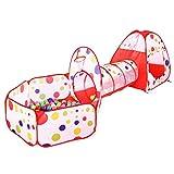 BATTOP児童ポルカドットテント トンネル 収納ボックス・チューブ・ティーピー 遊び場 ポップアップテント 屋内または屋外のゲームハウス – 3pcs