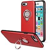 iPhone8 Plus ケース / iPhone7 Plus ケース、ICONFLANGによる360度回転リンググリップケース、iPhone 7 / 8 Plusデュアルレイヤー耐衝撃性保護iPhone 7 / 8 +ケース、磁気ブラケットに適用されます (Red)
