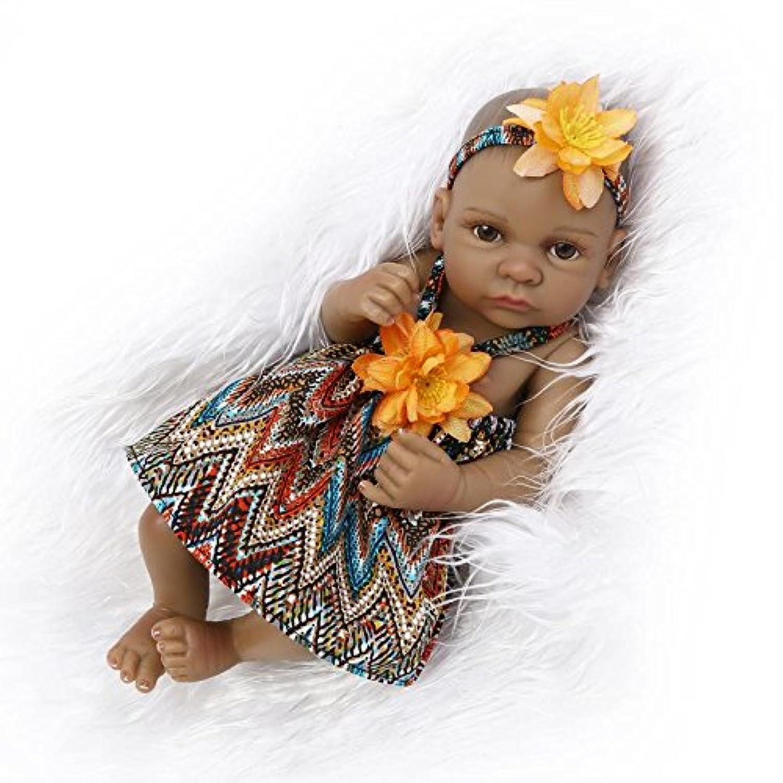 NPKDOLL アクリルアイズインディアンスタイルブラックスキンハードシミュレーションシリコーンビニール10インチの26センチメートル防水玩具オレンジガールリボーンベビーバスドール Reborn Baby Doll A1JP