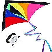 Anpro 微風で揚がる凧 カラフルな凧 虹カイト 軽量でタフ 凧揚げ 子供と大人のおもちゃ 60m 凧糸込み