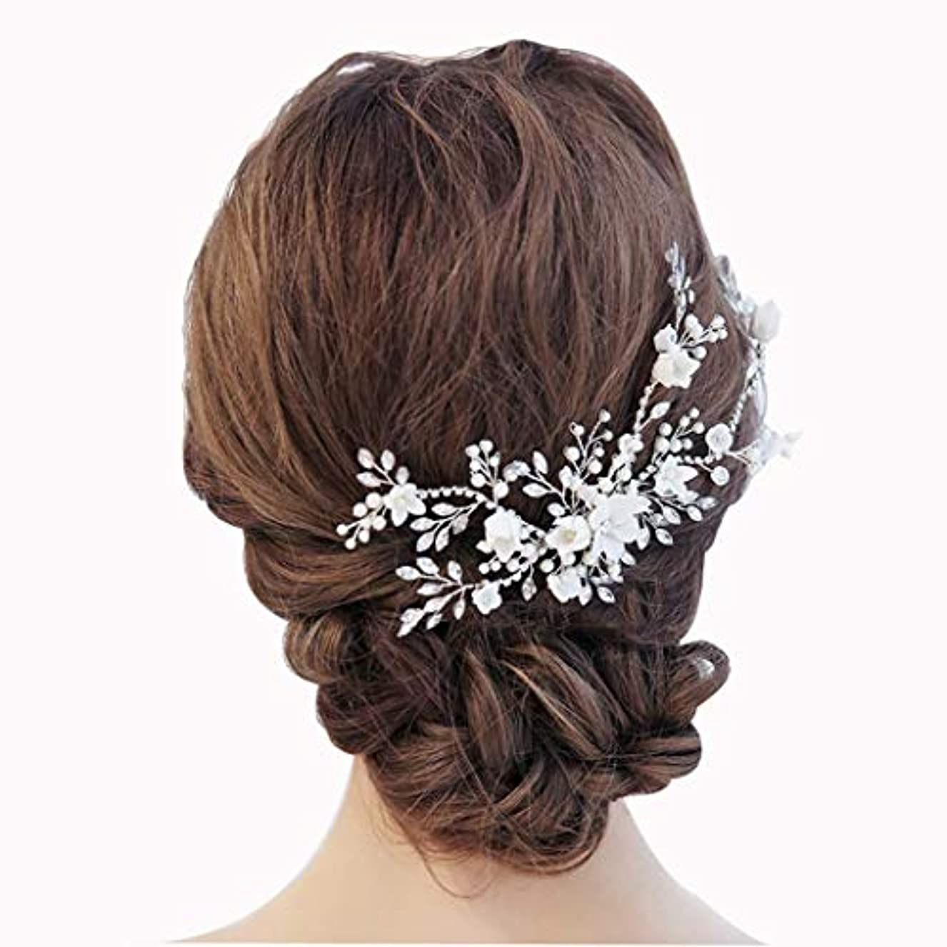 置き場スワップ彼らは手作りのガーランド、ブライダルヘッドドレススーパーフェアリーヘッドヘッドパールラインストーンジュエリー結婚式のアクセサリーヘアアクセサリー付きパールフラワーウェディング、パーティー
