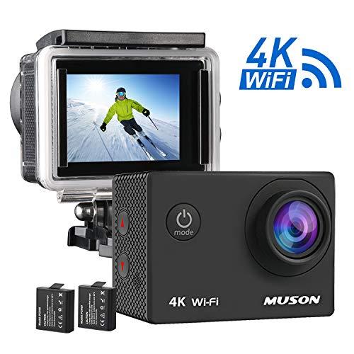 【4K高画質】MUSON(ムソン) アクションカメラ 4K WiFi搭載 1600万画素 SONYセンサー 30M防水 [メーカー1年保証] 170度広角レンズ 1050mAhバッテリー 2インチ液晶画面 HDMI出力 バイク/自転車/カート/車に取り付け可能 防犯カメラ スポーツカメラ ウェアラブルカメラ (黒)