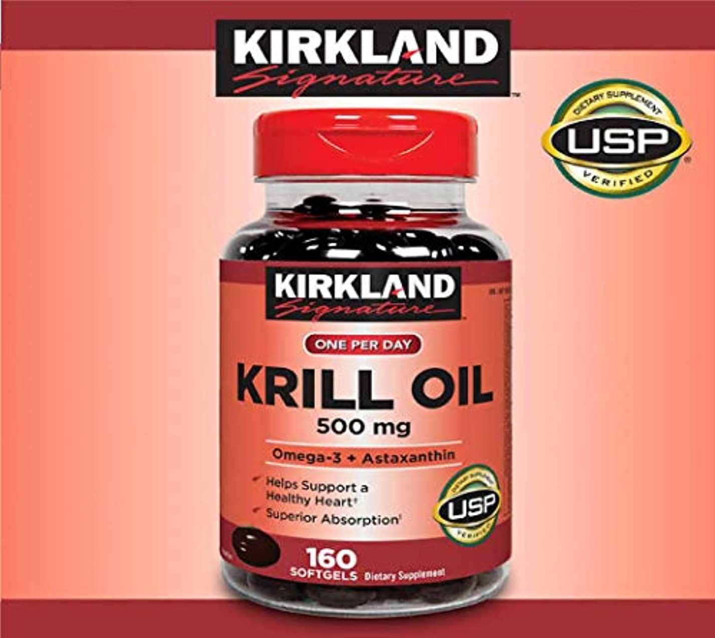注入するグループ注釈を付けるKIRKLAND カークランド, KRILL OIL クリルオイル 160 Softgels [並行輸入品]
