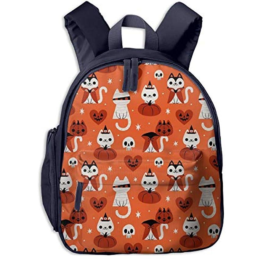 コットン冷酷な気怠いハロウィン猫 迷子防止リュック バックパック 子供用 子ども用バッグ ランドセル 高品質 レッスンバッグ 旅行 おでかけ 学用品 子供の贈り物