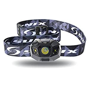 [Sunix] LEDヘッドライト2000mAh リチウム充電電池 [明るさ120ルーメン実用点灯10時] [完全防水] [調光モード夜間モード ストロボモード] アウトドア活動に適用 ブラック