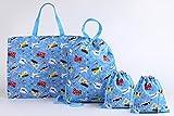 学童バッグ 3種 4点セット(レッスンバッグ×1 ナップサックコップ×1 巾着×2) えらべる2柄 (のりもの柄)