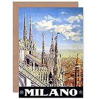 TRAVEL DUOMO CATHEDRAL MILAN ITALY BIRTHDAY BLANK GREETINGS CARD 旅行デュモミランイタリア挨拶