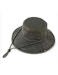 FH サンハット釣り帽子夏のカジュアル野球帽アウトドアバイザーキャップ日焼け止め (Color : Deep army green)