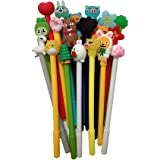 Colorful Kawaii Cute Cartoon Pens Random 20pcs 0.38mm with Pen Bags with Zipper for Girls Women, Great Stationery for School