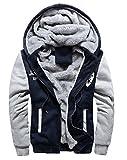 冬も かっこよく 厚手 メンズ ジャケット フード 付 裏地 温か ジャンパー 防寒対策 も バッチリ (XL(日本Lサイズ), 紺)