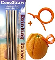 4 Stainless Steel Wide Smoothie Straws + Cleaning Brush + Citrus Peeler - CocoStraw Large Straight Frozen Drink Straw - + Cleaning Brush by CocoStraw