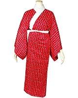 レディース洗える長襦袢 赤地 半衿・衣紋抜き 仕立て上がり