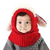 iCasso赤ちゃん帽子  ベビー キッズ 子供用の可愛いウサギちゃん風 ニット帽子 選べる3色 冬の可愛いニット帽 防寒・保温 (レッド)