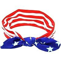bililaベビーAmerican Flagパターンウサギ耳弾性布ヘッドバンド