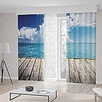 YOLIYANA 寝室用カーテン 遮光 リビングルーム用アート 中国湖の風景 霧の山 ミスト雲 ドラマチックなヒルビュー 装飾 79W X 94L Inches Z09_B_1_Blackout Curtains_016019